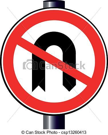 Vector Clip Art of No U Turn.