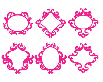 Round Frame silhouettes SVG DXF Vector Cutting file.