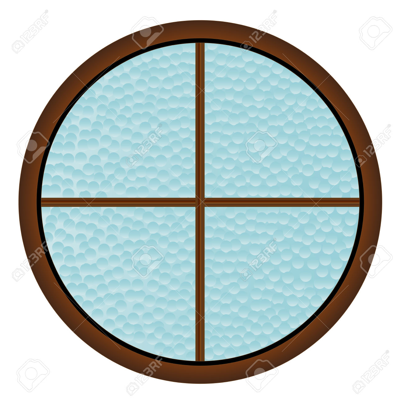 A Round Window With Hammered Bathroom Glass Royalty Free Cliparts.