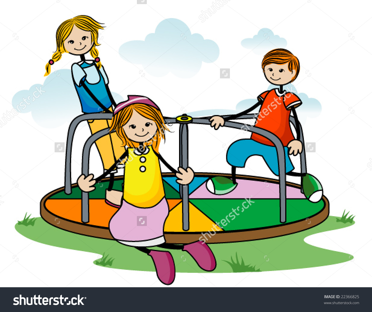 Kids On Roundabout Vector Stock Vector 22366825.