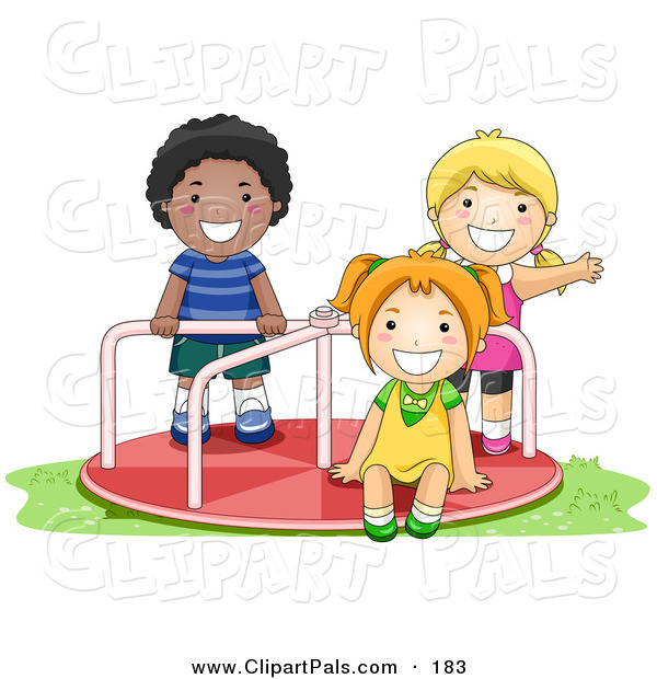 Pal Clipart of an African American Boy and White Girls Playing on.