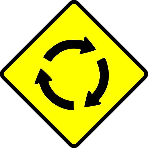Caution Roundabout clip art Free vector in Open office drawing svg.