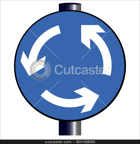 Roundabout Traffic Sign stock vector.