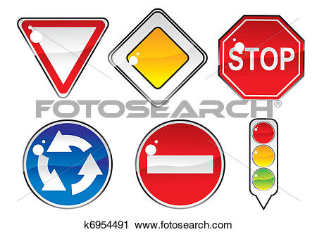 Clipart of signs priority to regulate the order of roundabouts.