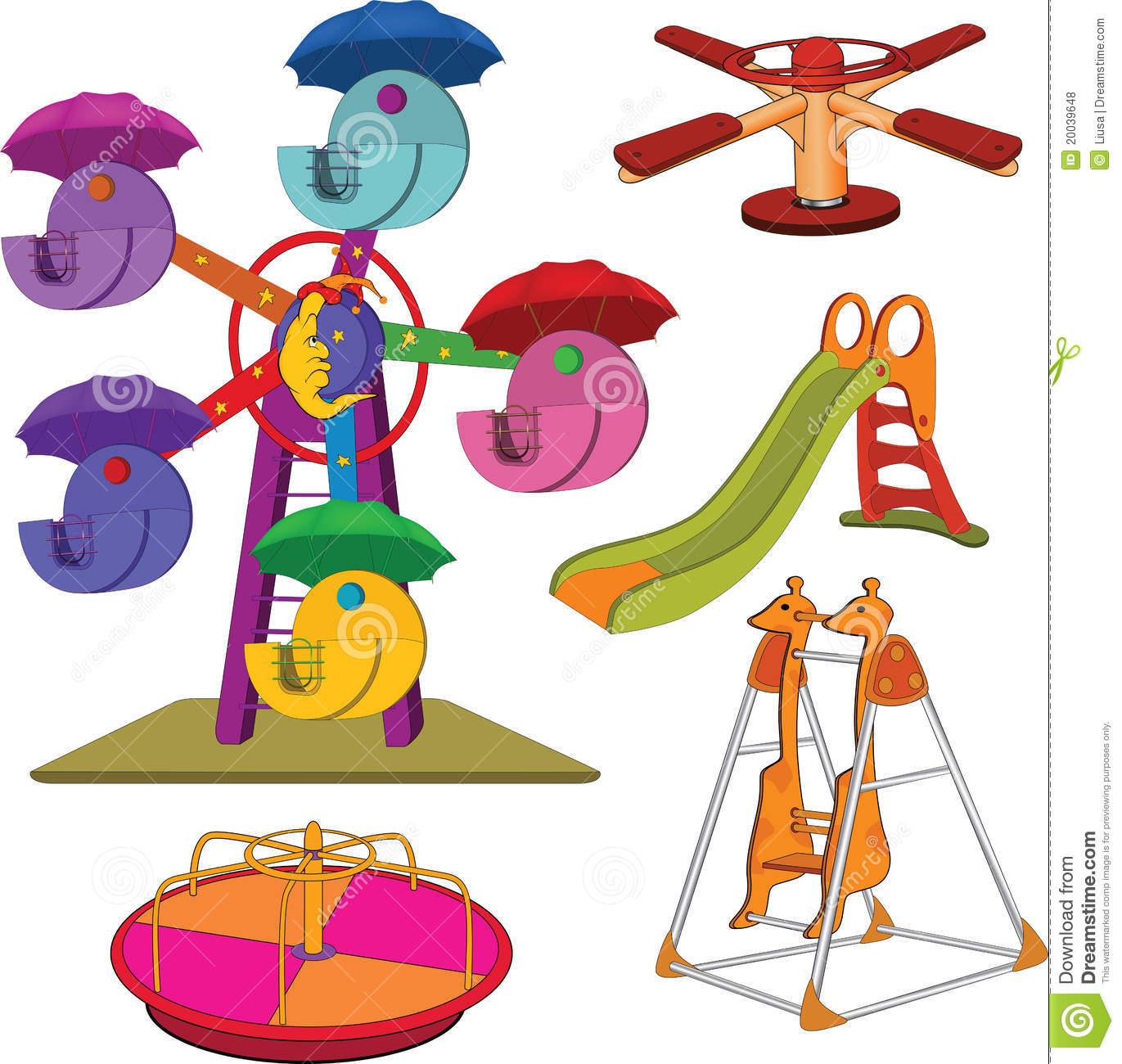Set Of Children's Roundabouts. Cartoon Royalty Free Stock Photos.