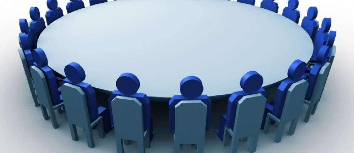 Round table discussion clipart.