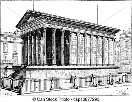 EPS Vectors of Maison Carree, in Nimes, Languedoc.