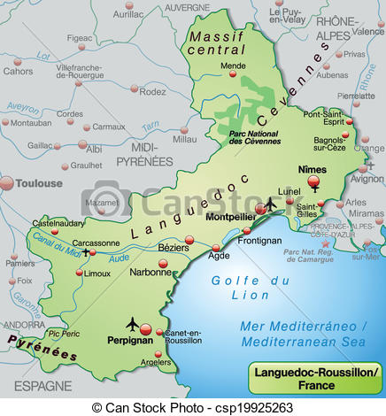 Clip Art Vector of Map of languedoc.