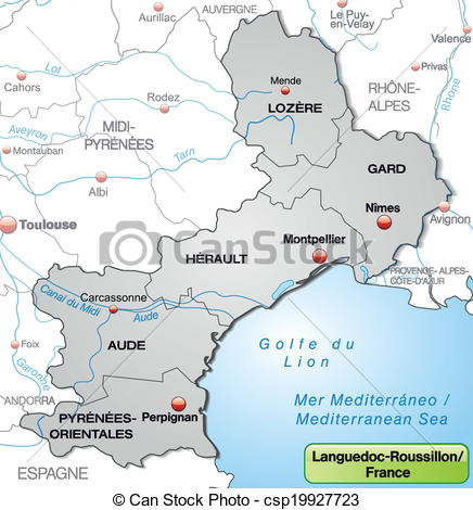 Vector Illustration of Map of languedoc.