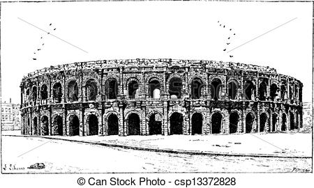 Vector Illustration of Arena of Nimes, in Nimes, Languedoc.