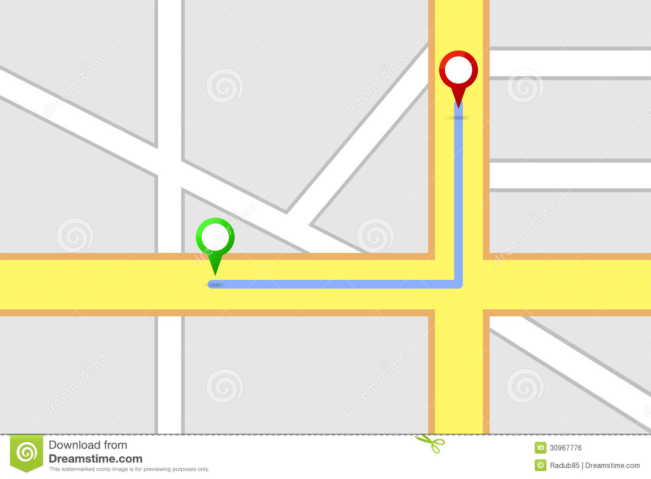 Route map clipart.