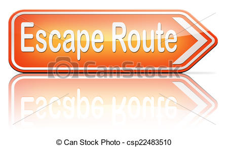 Clipart of escape route to safety.