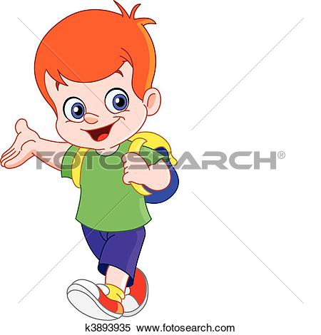 Clipart of Running schoolboy k4051924.