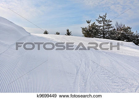 Stock Photograph of Slope on the skiing resort Rovaniemi, Finland.