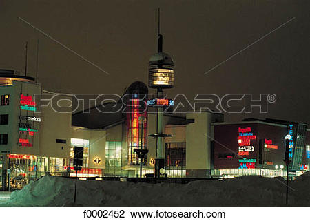 Stock Photo of tower, night, Finland, Europe, snow, Lapland.
