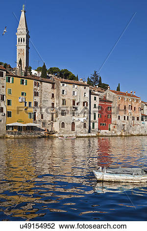 Stock Photo of Croatia, Istria, Rovinj. Waterfront reflections of.