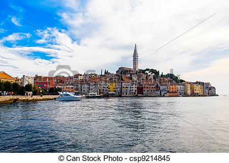 Stock Images of Old City of Rovinj and Saint Euphemia Church in.