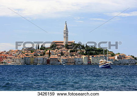Stock Photograph of Harbour and Church Sveta Eufemija, Rovinj.