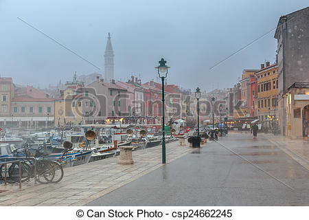 Stock Photo of Pouring rain in the Rovinj.