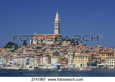 Picture of Boats at harbor, St. Euphemia Cathedral, Rovinj, Istria.