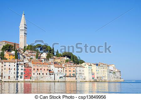 Stock Images of Old town architecture of Rovinj, Croatia. Istria.