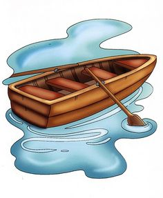 Row Boat Clipart, Paddle Clipart, Water Oar Clipart, Rowing Canoe.