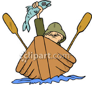 In a Rowboat Holding a Fish.