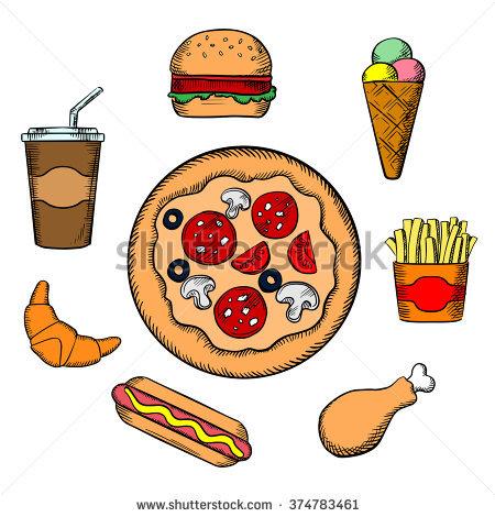 Cartoon Fast Food Icons Set Burger Stock Vector 334795778.