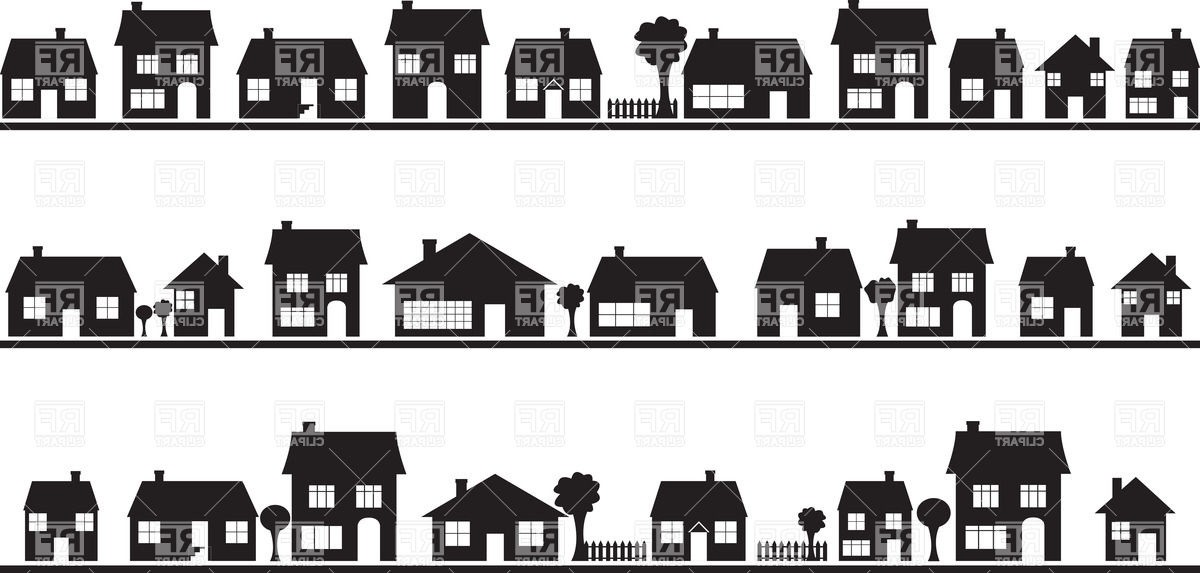Row house black and white clipart.