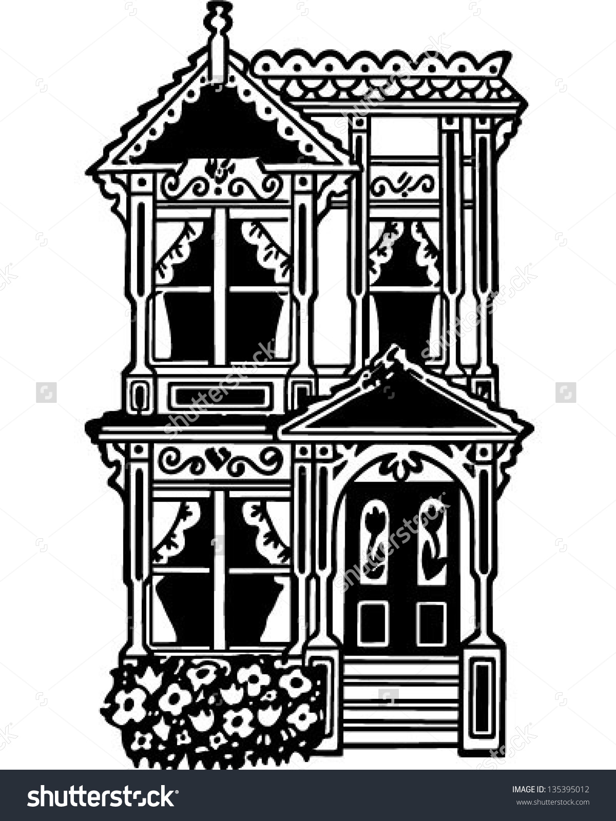 Victorian Row House Retro Clip Art Stock Vector 135395012.