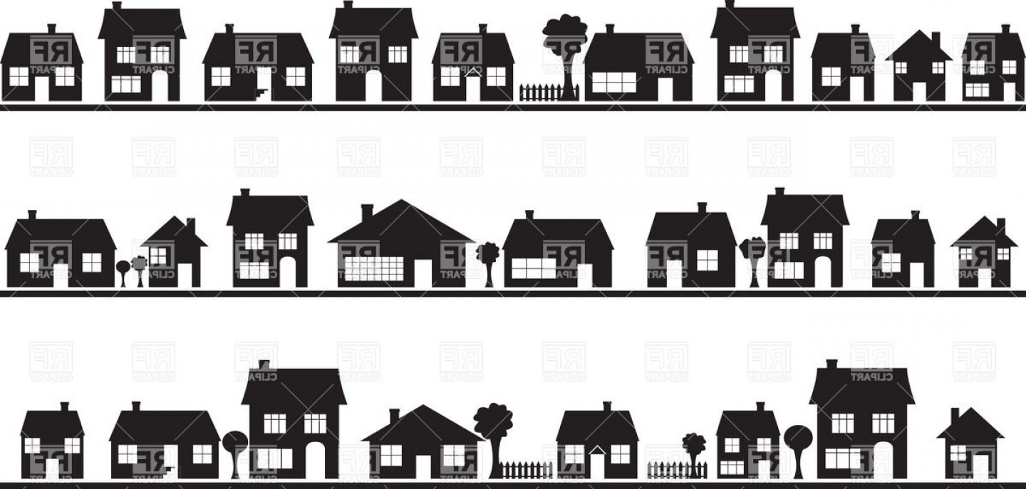 Best Row House Silhouette Vector Image.