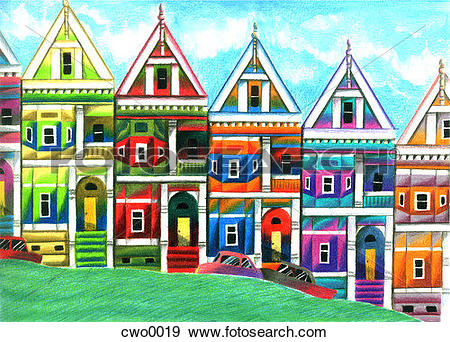 Stock Illustration of san francisco row houses cwo0019.