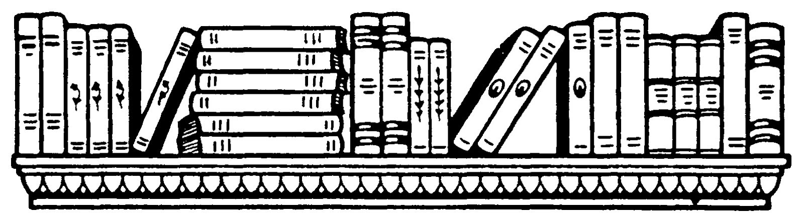 Row Of Books Clipart Black And White.