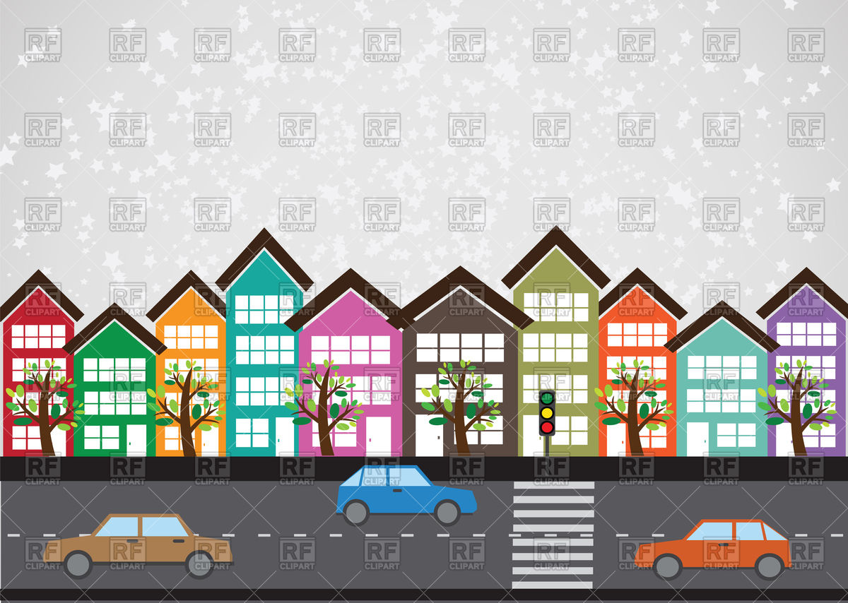 Row of buildings on street Vector Image #88402.