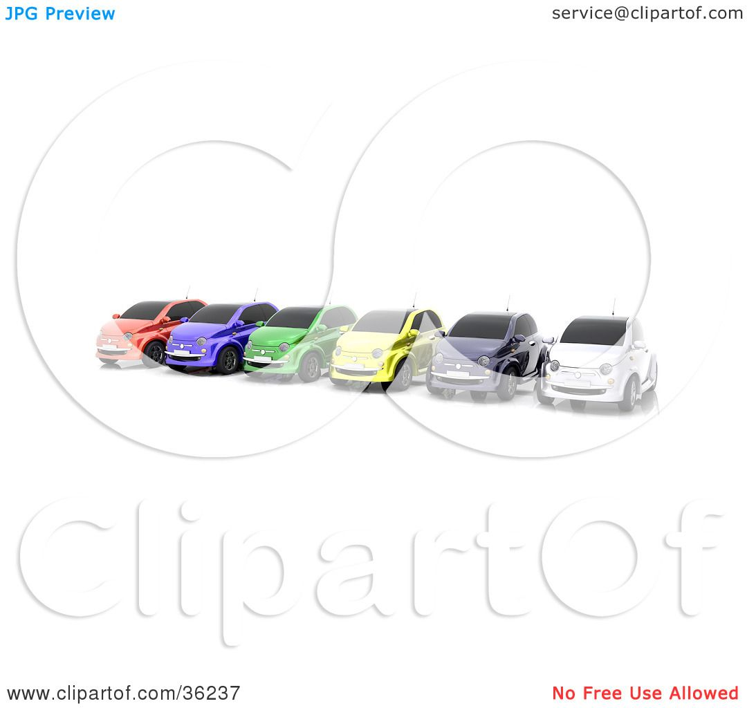 Clipart Illustration of a Row Of Six Colorful Cars Lined Up On A.