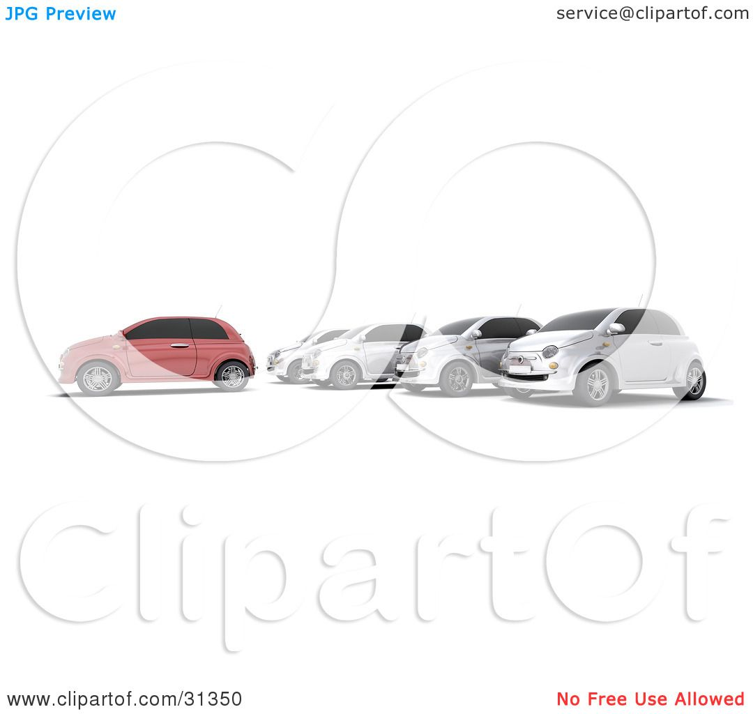 Clipart Illustration of a Red Car In Front Of A Row Of Silver Cars.