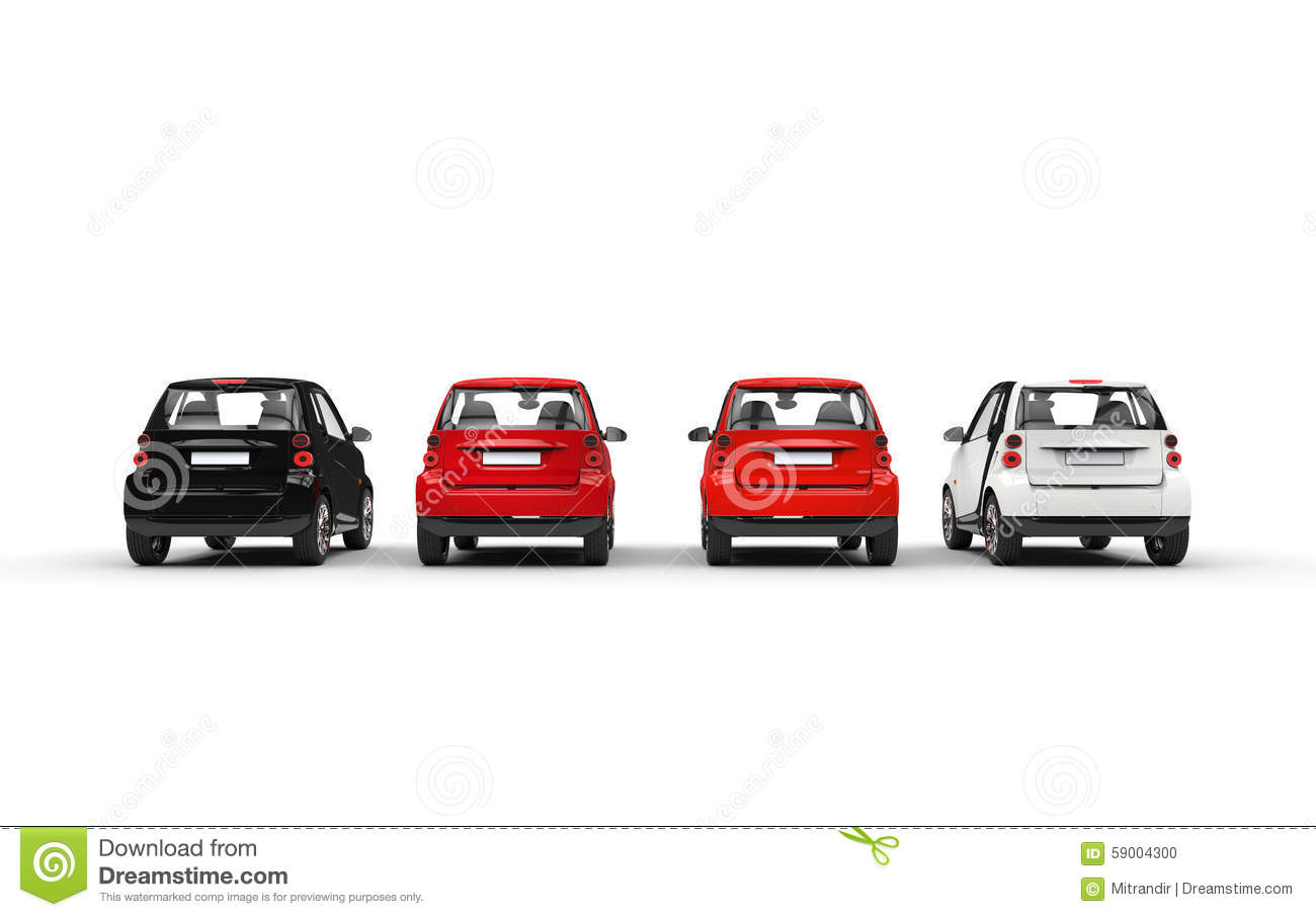 Small Car Back View Stock Illustrations.