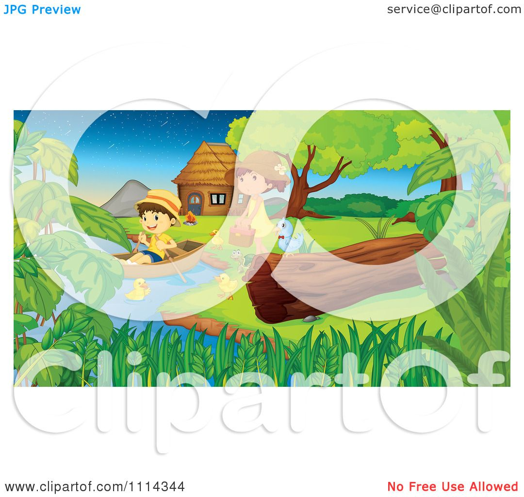 Clipart Cute Couple With Ducks A Row Boat And Picnic Basket On A.