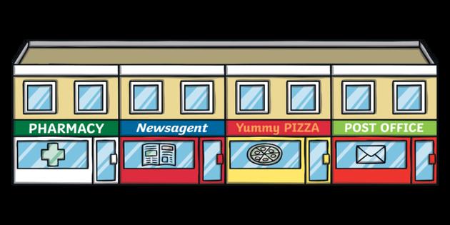 Row Of Shops Illustration.