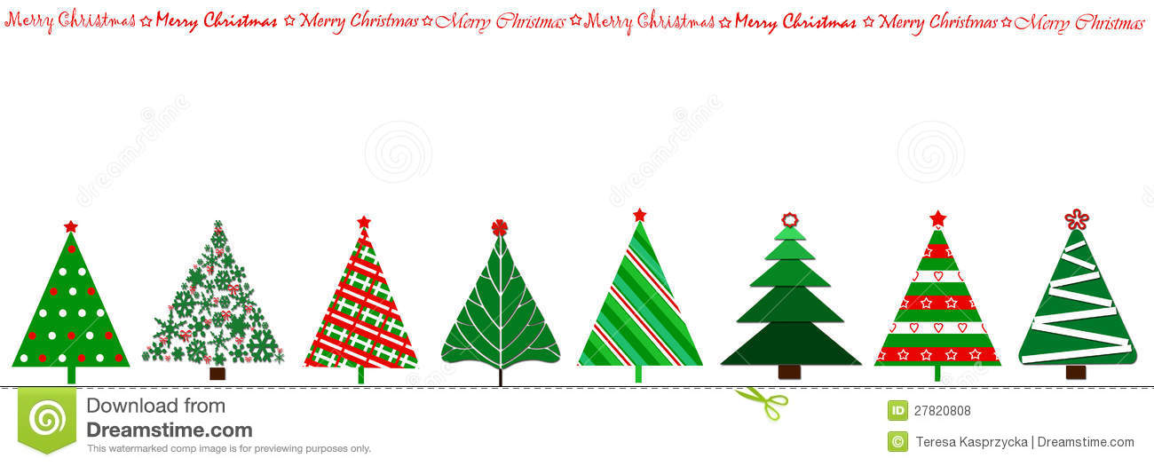 Row of christmas trees clipart.