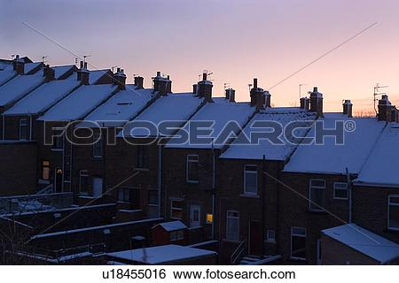 Stock Images of Aerial view of row housing, Newton Cap Bank.