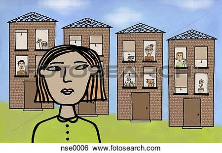Stock Illustration of Illustration of a woman in front of a row of.