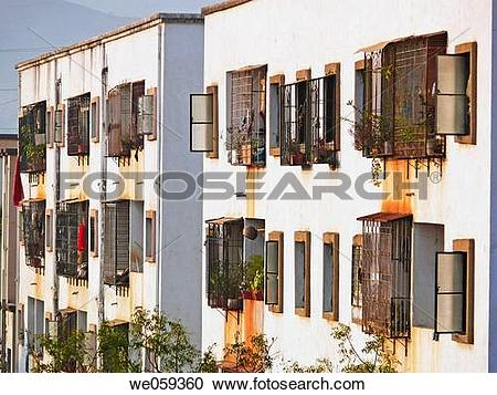 Stock Photography of Buildings perspective of showing windows at.