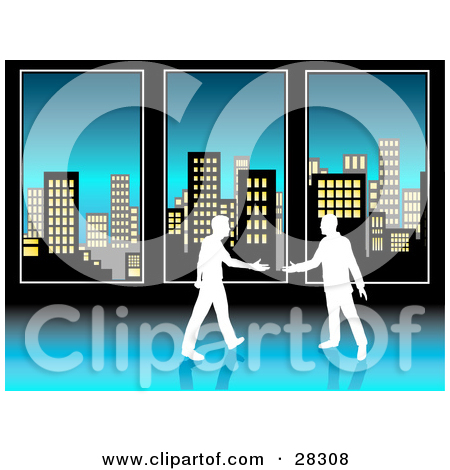 Clipart Illustration of a Row Of Tall City Highrise Buildings In.