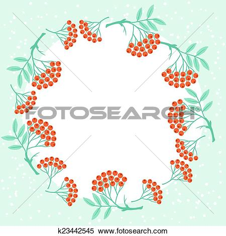 Clipart of Winter background design with stylized rowan berries.