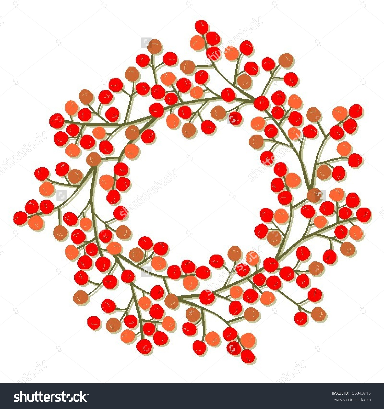 Red Orange Rowan Berry Mountain Ash Stock Vector 156343916.