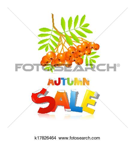 Clipart of Colorful Vector Autumn Sale Theme With Rowan Berries.