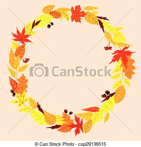 Vector Clip Art of Autumn wreath with leaves, acorns and.