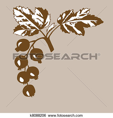 Clip Art of rowanberry on brown background, vector illustration.
