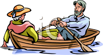 Royalty Free Clip Art Image: Elderly Couple Riding in a Rowboat.